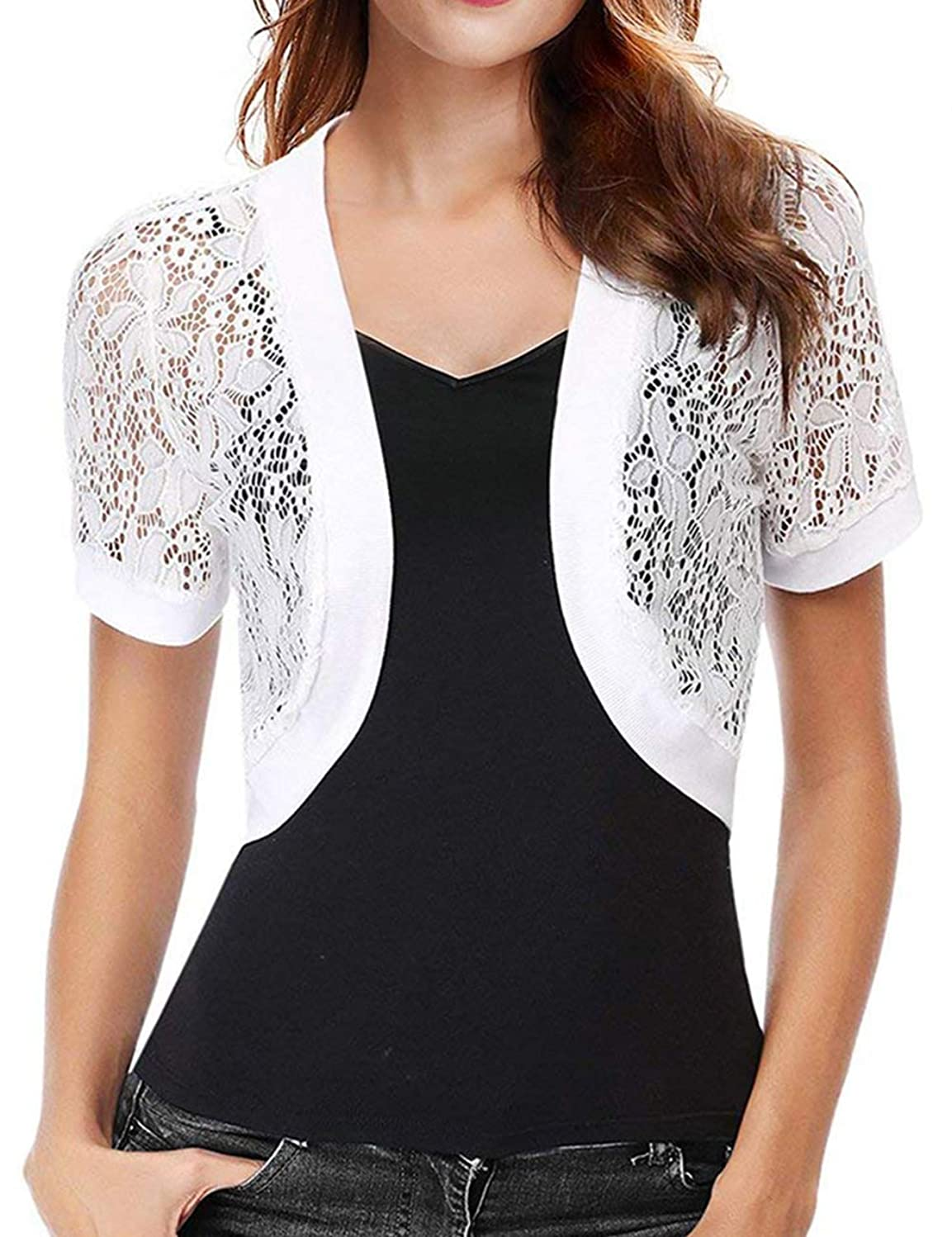 Womens Lace Shrug Short Sleeve Sheer Bolero Cardigan for Women Dresses Jacket