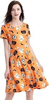 Womens Short Sleeves Halloween Themed Pumpkin Party Dress A-line Casual Skeleton Witches Candy Printed