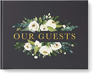 Wedding Guest Book, Gold Foil Lettering, Large Guest Book, Photo Booth Guestbook, Dark Charcoal with White Flowers, 10.9 x 8.75 Inch Hardcover Book with 80 Blank White Pages, Made in The USA