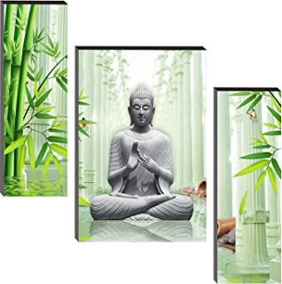 SND Lord Buddha UV Textured Set of 3 Modern Art Print MDF Frame Painting for Living Room Wall for Home Decoration(18 X 6 i...