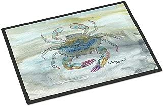 Caroline's Treasures 18 in x 27 in Female Blue Crab Watercolor Door Mat Indoor/Outdoor doormats, Multicolor