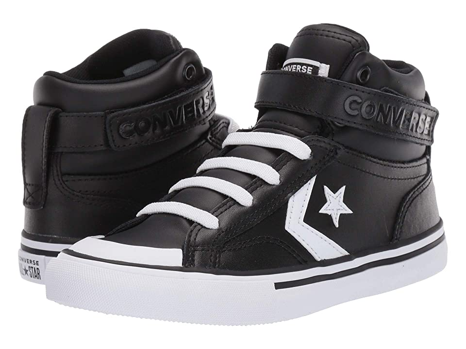 7035e35695c783 Converse Kids Pro Blaze Strap Hi (Little Kid Big Kid) (Black White White)  Boy s Shoes