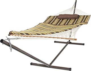 SueSport Rope Double Hammock Combo with 12 Feet Steel Stand, Pad and Pillow, 55 Inch Wide x 144 Inch Long
