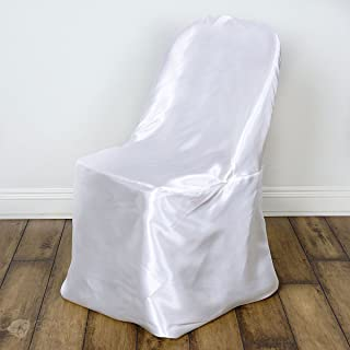 Sparkles Make It Special 50 pc Satin Folding Chair Covers - Wedding Reception Banquet Party Restaurant - White