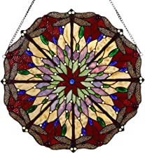 Bieye W10012 22 inches Dragonfly Tiffany Style Stained Glass Window Panel with Hanging Chain