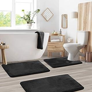 Clara Clark 3-Pack Bath Mat Set - Large, Small and Contour Bathroom Rug Set, Absorbent Memory Foam Bath Rugs, Non-Slip, Th...