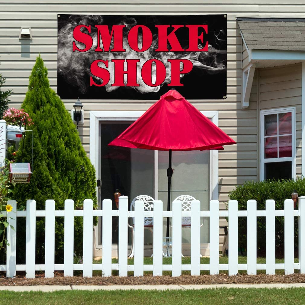 Vinyl Banner Multiple Sizes Smoke Shop Outdoor Advertising Printing B Business Outdoor Weatherproof Industrial Yard Signs Red 10 Grommets 60x144Inches