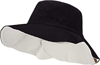 C.C Women's 100% Cotton Crushable Bucket Ponytail Messy Bun Sun Hat Reversible