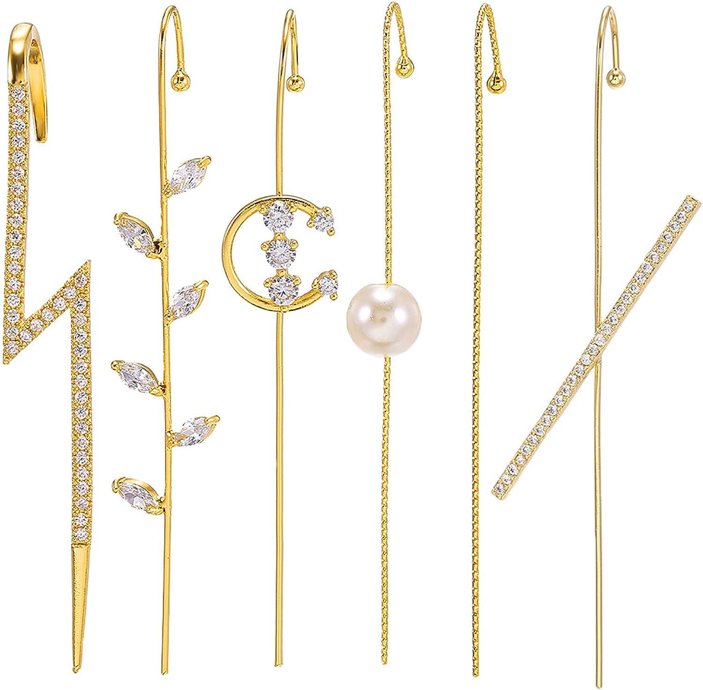 6 Pieces Ear Cuffs Crawler Gold Plated Rhinestone Hook Earrings Hypoallergenic Long Crawler Earrings for Women Girls