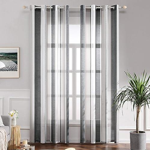 MIULEE Lot de 2 Décorative Rideaux Voilage Imprimes Fenêtre Design Moderne Uni à Oeillets Décoration pour Maison Salo...