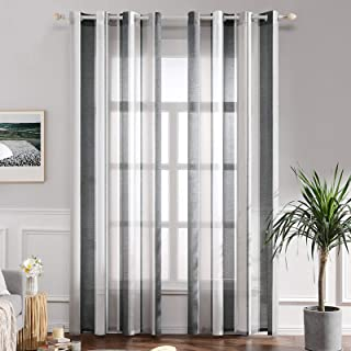 comprar comparacion MIULEE Cortinas Translucida de Dormitorio Moderno Ventana Visillos Rayas Salon Paneles con Ojales Plateados para Sala Cuar...