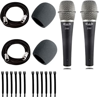 Cad Audio CadLive D90 Premium Supercardioid Dymanic Handheld Microphone x 2 with Foam Windscreen, Mic Cable 20 Feet - Strapeez