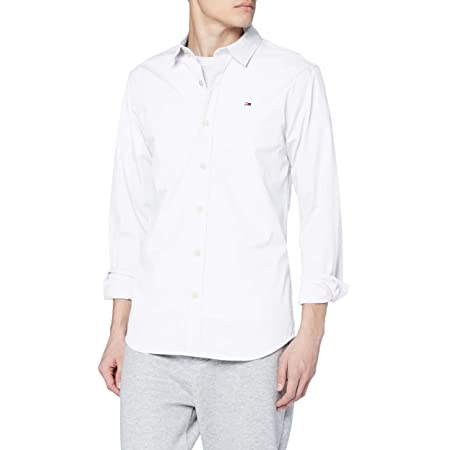 Tommy Jeans Original Stretch Camisa, Blanco (Classic White 100), XX-Large para Hombre