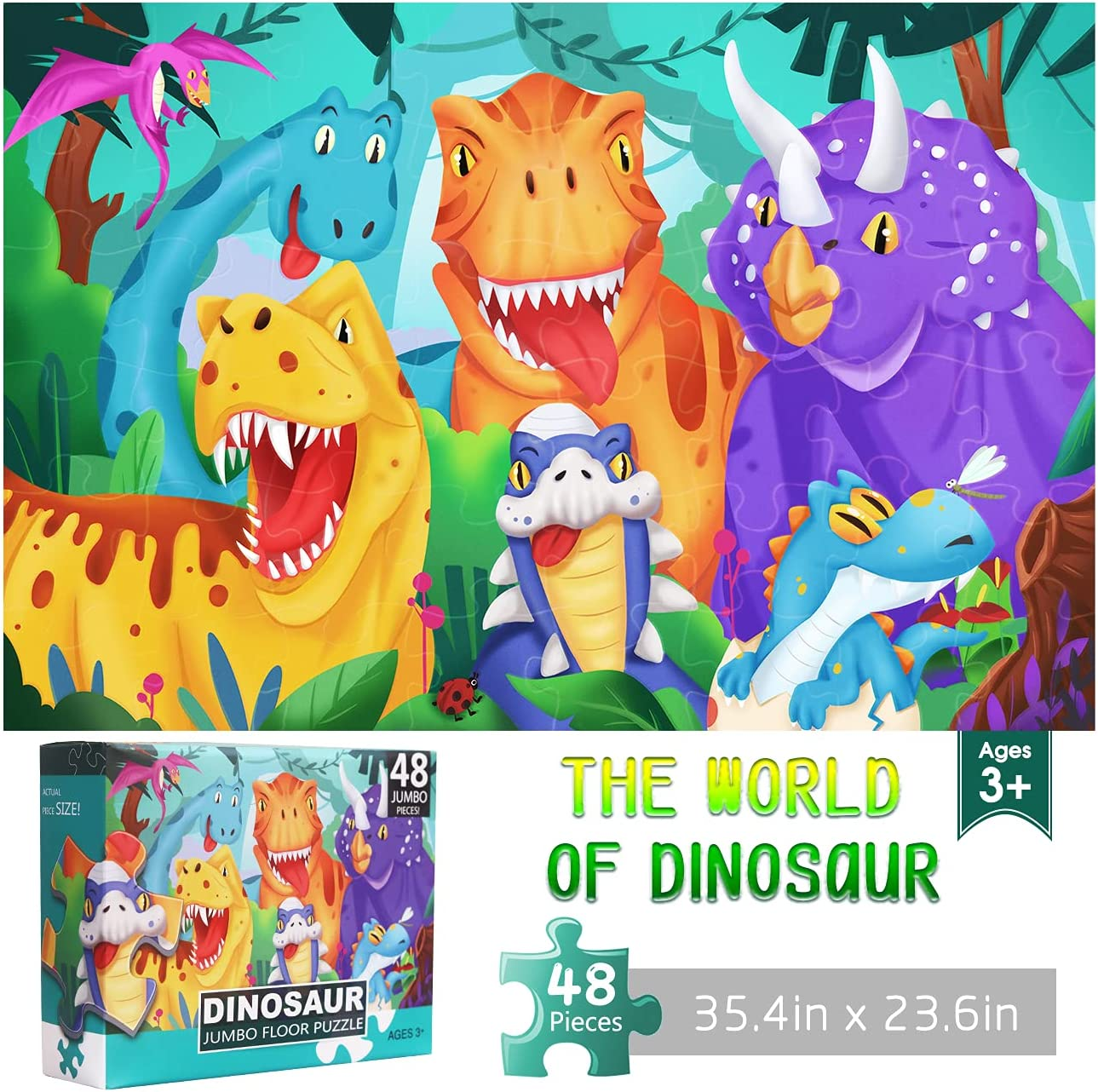 Jumbo Floor Puzzle for latest Kids Dinosaur Puzzles Large Pie 48 Jigsaw wholesale