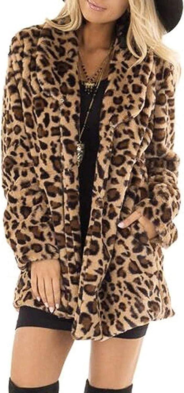 Women's Leopard Faux Fur Coat Hooded Long Sleeve Winter Warm Jacket Outerwear Fluffy Parka Overcoat -