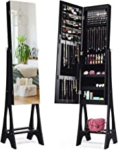 Giantex 12 LED Jewelry Armoire Cabinet with Frameless Full-Length Mirror, Standing Jewelry Cabinet with 16 Lipstick Holders, Large Storage Capacity, 3 Angles Adjustable, Black