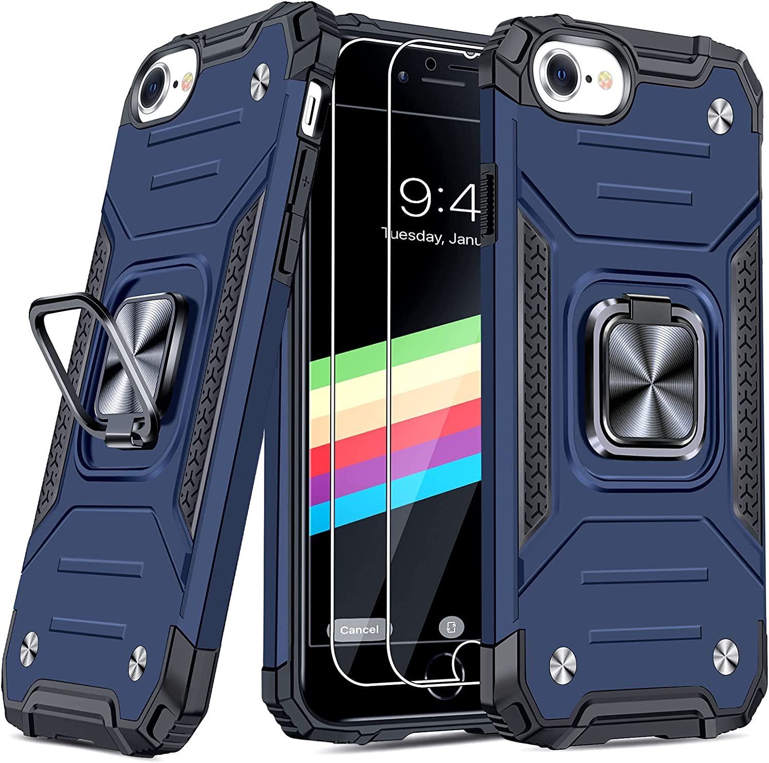 """JAME Case for iPhone SE 2020 Case with Screen Protector 2Pcs, for iPhone 8 Case, for iPhone 7 Case, for iPhone 6S/6 Case, Military-Grade Protection, with Ring Kickstand Shockproof Case 4.7"""" Blue"""