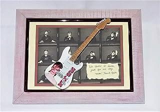Quadretto musicale con cornice in legno fatta a mano e stampa a colori David Bowie con Chitarra riproduzione in legno. Per...