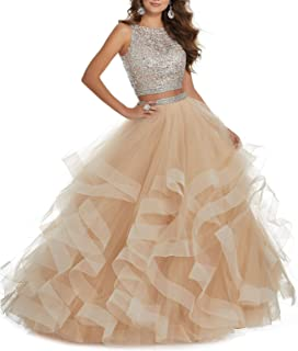 LCRS Women's 2 pc Beaed Prom Dress Long Asymmetric Laye Tulle Quinceanera Dress