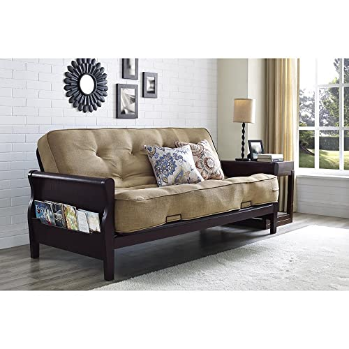 Better Homes And Gardens Wood Arm Futon With 8 Inch Coil Mattress, Oatmeal  Linen