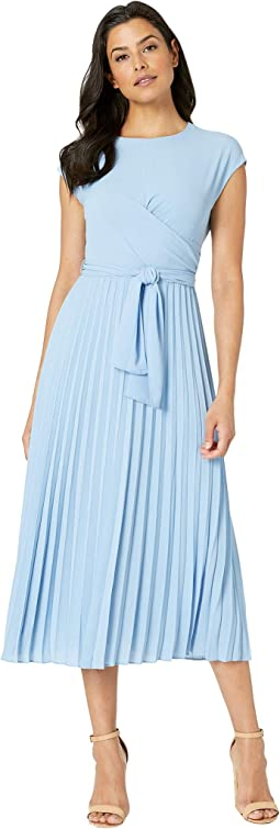Pleated Crepe Fit and Flare Dress