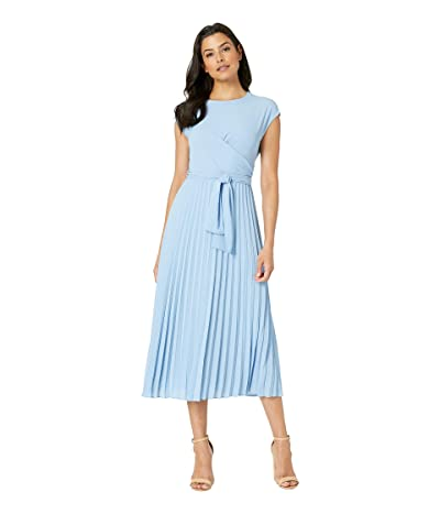 Maggy London Pleated Crepe Fit and Flare Dress (Sky Blue) Women