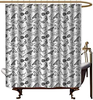 Genhequnan Black and White Waterproof Fabric Shower Curtain Lingerie Underwear Pattern Bras and Panties Doodle Feminine Fashion Theme Cool Shower Curtain W66 x L72 Inch Black White