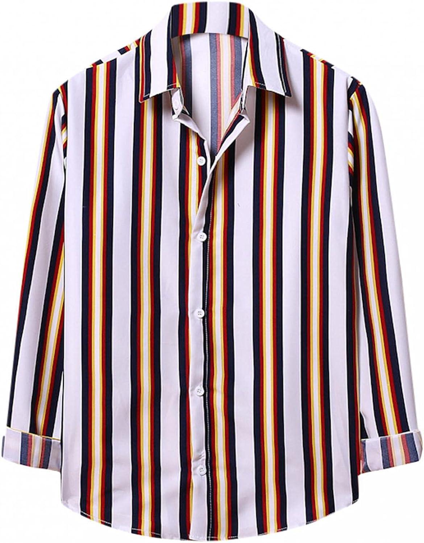 KEEYO Mens Vertical Striped Button Down Shirts Long Sleeve Casual Work Formal Poplin Slim Fit Dress Shirts Tops