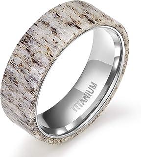 TIGRADE 8mm Titanium Ring Deer Antler Band Men's Wedding Band Size 7-12