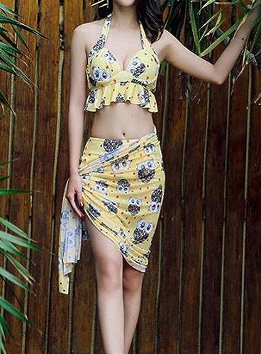HOMEE Maillot de Bain Maillot de Bain - Maillot de Bain Split Top Bikini Maillot de Bain Spa Three-Piece Maillot de Bain Conservateur,Jaune,XL