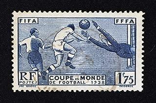 Vintage France World Soccer Cup 1938 Stamp Sports Cool Huge Large Giant Poster Art 36x54