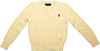 Polo Ralph Lauren Girl's Buttoned Down Cable Knit Crew-Neck Sweater