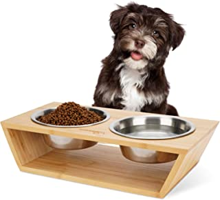 """Wantryapet 3"""" Elevated Dog Cat Dog Feeder with 2 Stainless Steel Bowls, Bamboo Raised Stand Pet Feeder Perfect for Small D..."""