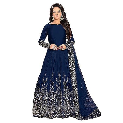 cdd770c6da Varudi Fashion Women's Embroidered Semi-stitched Anarkali Gown (MOR1, Blue,  Free Size
