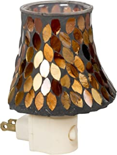 Amber Leaves Mini Lampshade 5 x 4 Glass Electric Wall Plug-In Mosaic Night Light