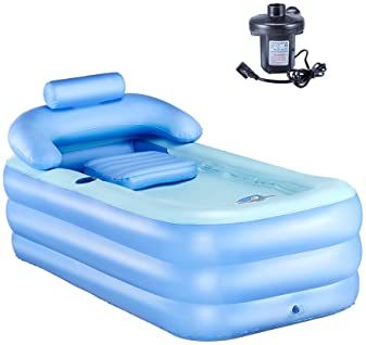 Blue PVC Inflatable Adult SPA Summer Bathtub Washing Travel Tub Free Air Pump UK
