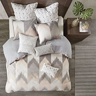 Ink+Ivy Alpine Duvet Cover King/Cal King Size - Blush, Grey, Ivory , Pieced Chevron Duvet Cover Set – 3 Piece – 100% Cotton Light Weight Bed Comforter Covers