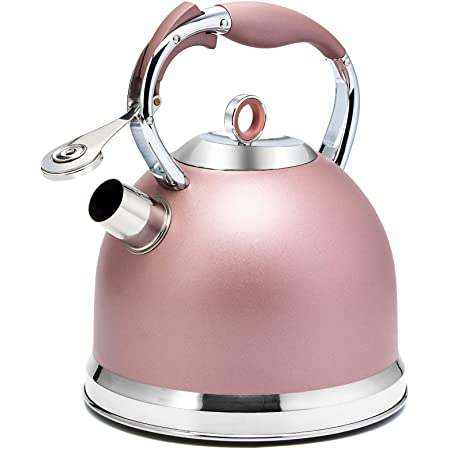 Tea Kettle 3 Quart induction Modern Stainless Steel Surgical Whistling Teapot - Pot For Stove Top (Rose-gold)