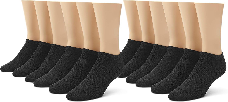 No Nonsense mens Cushioned No Show Socks, 12 Pair Pack