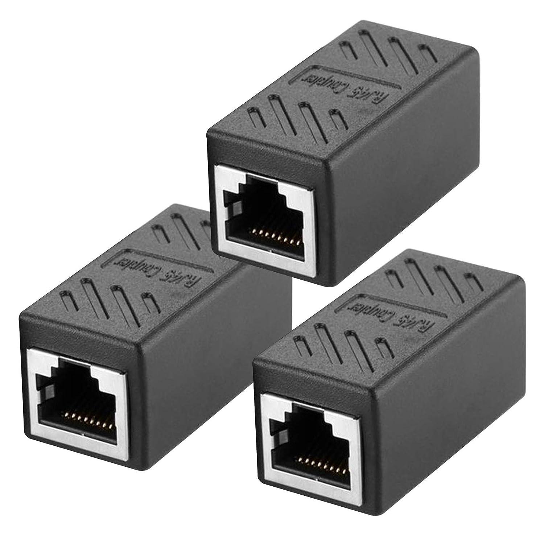 Acoplador RJ45, conector RJ45, Cat7, Cat6, Cat5e, cable de red hembra a hembra (3 unidades), color negro