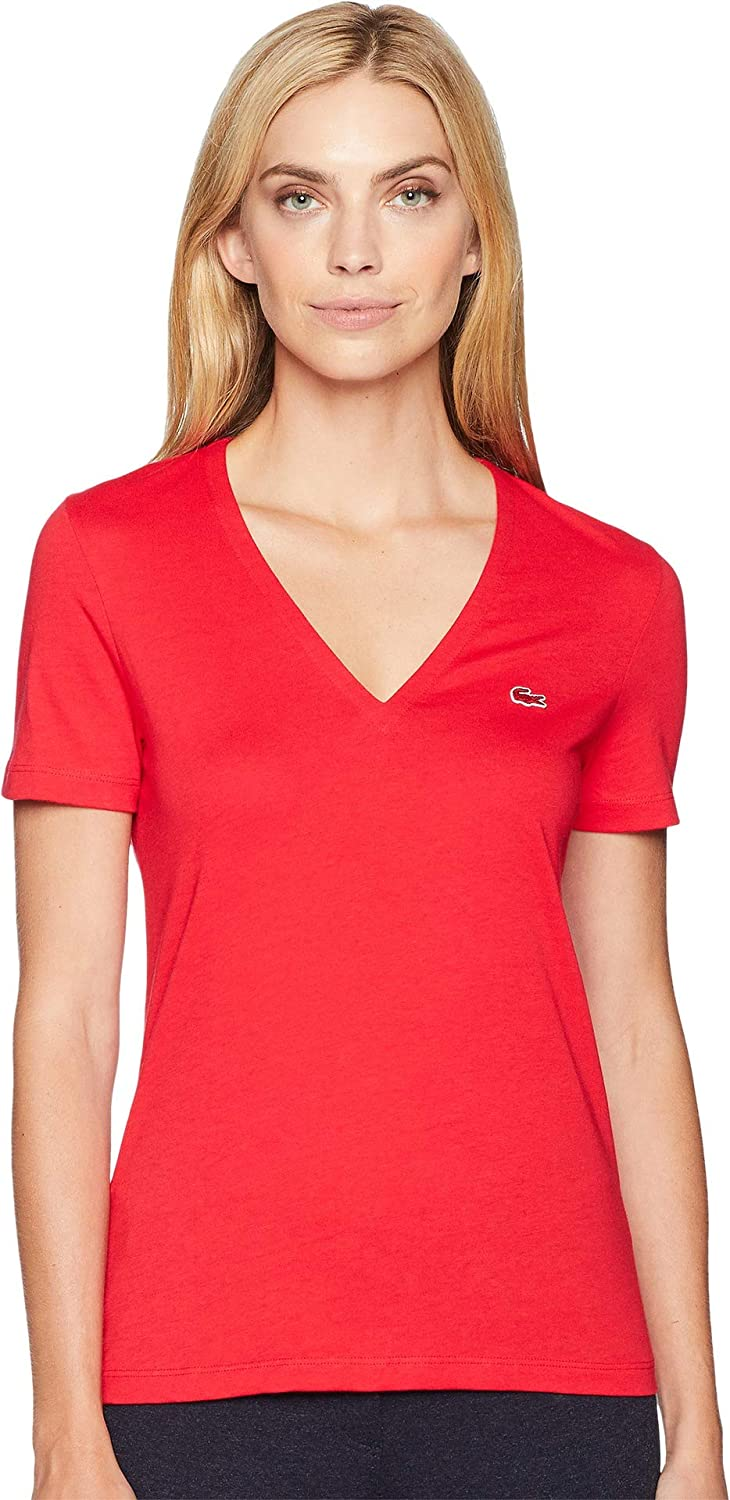 Lacoste Womens Short Sleeve Classic Supple V-Neck Jersey T-Shirt Austin Mall Max 78% OFF