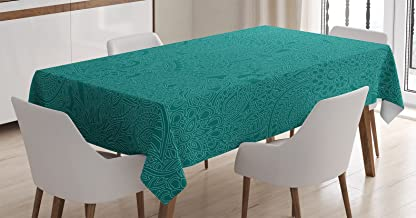 Ambesonne Teal Decor Tablecloth by, Abstract Huge Flowers Paisley Pattern Flourishes Lacy Ornate Doodle Art Print, Dining Room Kitchen Rectangular Table Cover, 60 X 90 Inches, Teal