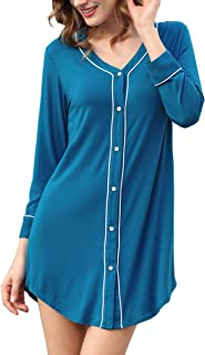 COLORFULLEAF Nightgowns for Women Button Down Long Sleeve Boyfriend Night Shirts