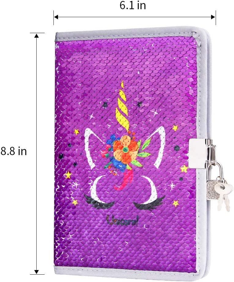 Magic Reversible Sequin Journal Secret Travel Notebook for Kids FUMOXING Unicorn Diary with Lock and Keys for Girls Purple