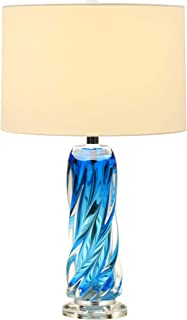 Contemporary Blue Glass Lamp,25.5