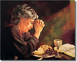 Gratitude Lady Praying at Dinner Table Daily Bread Grace Religious Wall Picture 8x10 Art Print