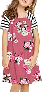 GRAPENT Girls Cold Shoulder Ruffled Short Sleeve Casual Loose Tunic Shirt Dress