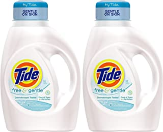 Tide Liquid Laundry Detergent Free Gentle 32 Load, 50 Ounce (Pack of 2)