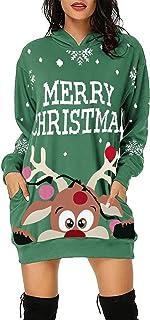 Navidad Jersey Mujer de Manga Larga Largos Cuello Redondo Otoño Vestidos Sudadera Casual Tallas Grandes Suéter Suelta Pull...