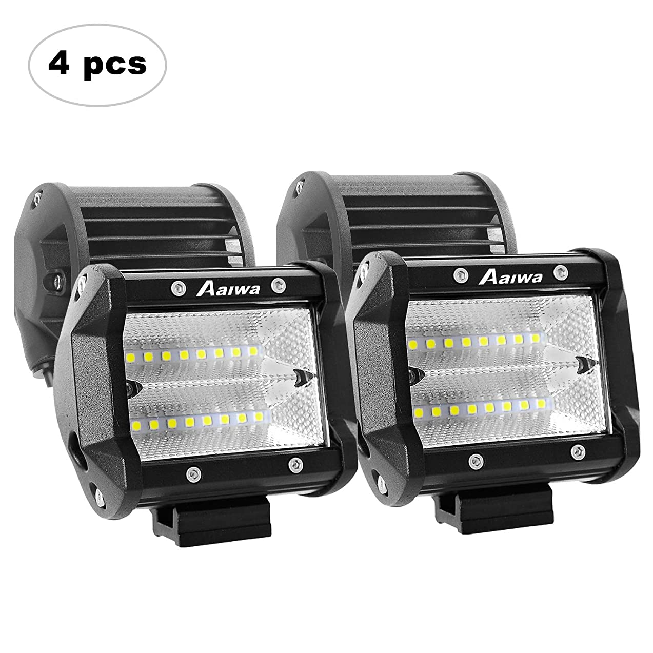 AAIWA LED Pods 4 Pack 48W LED Light Bar Off Road Driving Lights Fog Lights for Truck, Car, ATV, SUV, Jeep, Boat, 2 Years Warranty